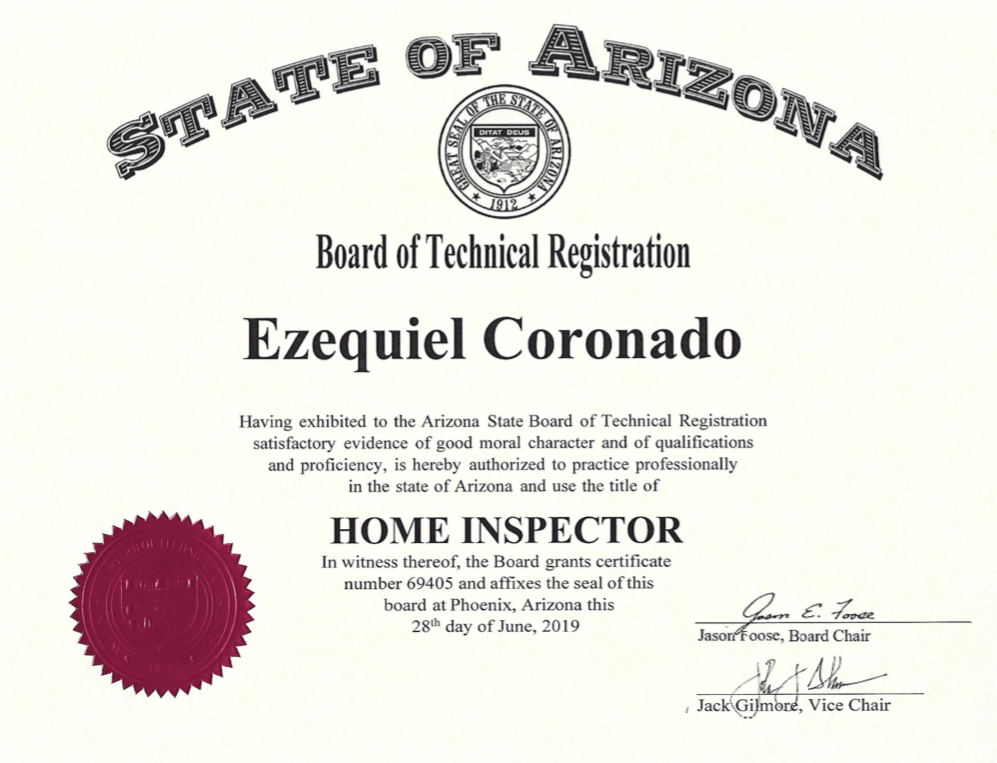 State of Arizona Home Inspector Certification -rotated